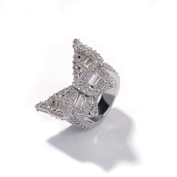 IceOnHer® Staple butterfly ring