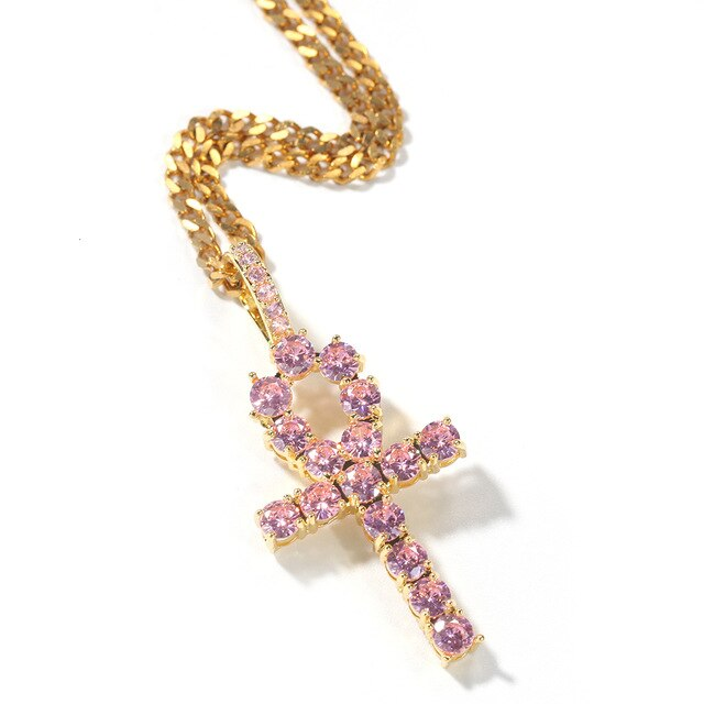 PINK EGYPTIAN ANKH PENDANT WITH NECKLACE