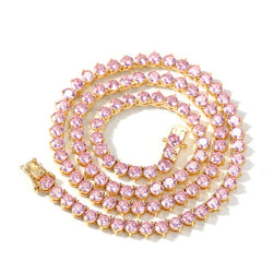 3 PRONG PINK TENNIS CHAIN