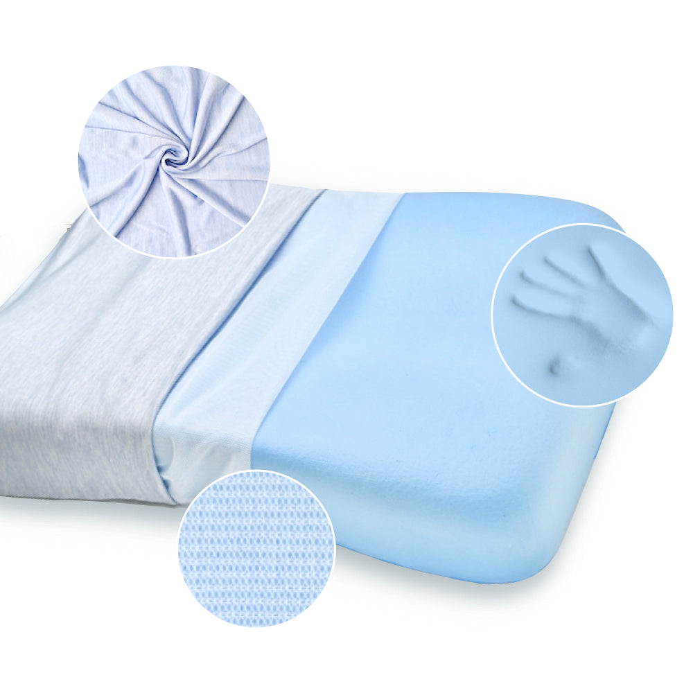 ergonomic contour pillow with cooling cover