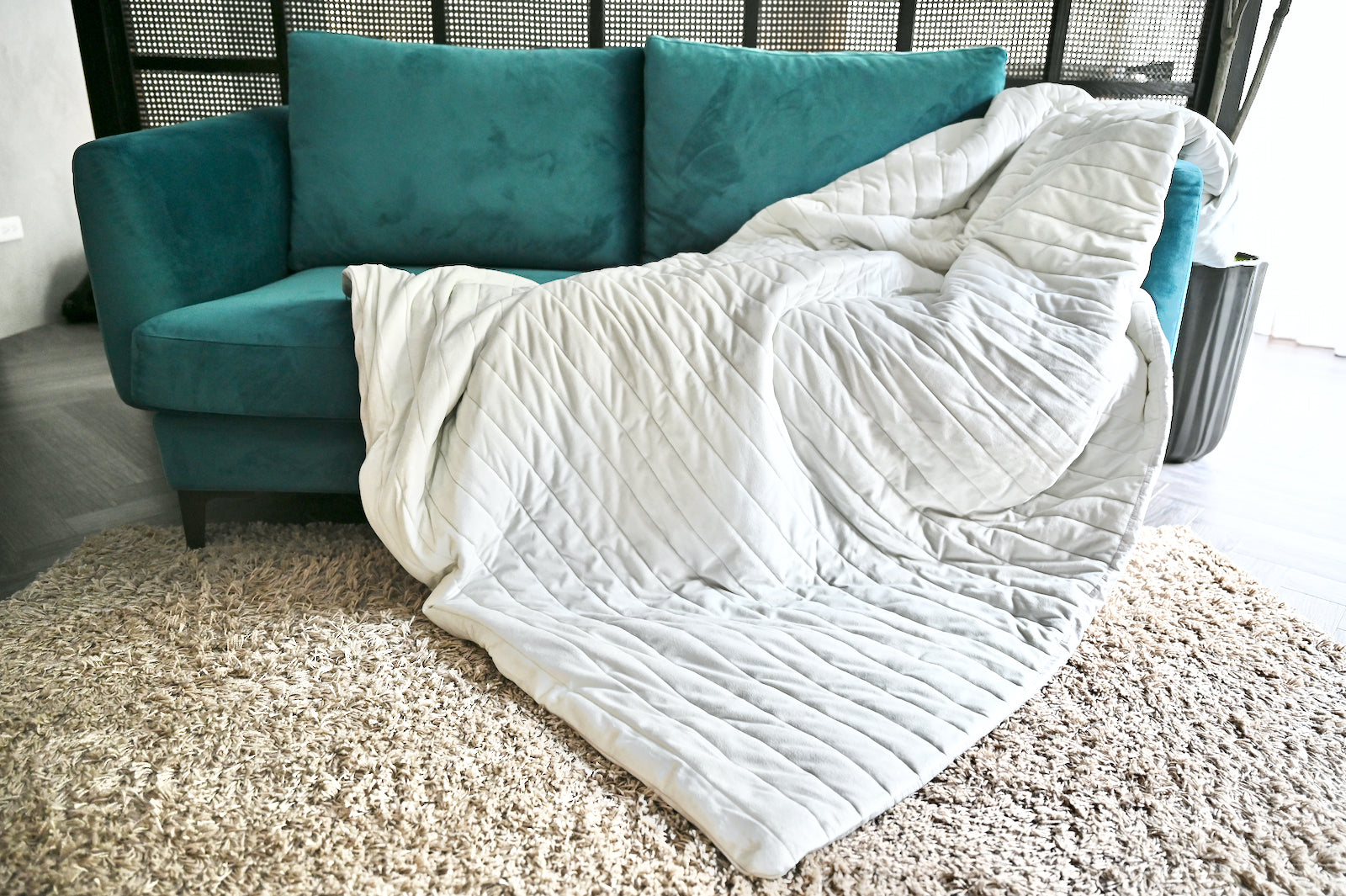 Cushion Lab Calm Embrace Weighted Blanket on sofa