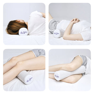 Memory Foam Round Cylinder Bolster for Cervical Support Neck Relief Neck Roll Pillow Multi-Usage - Cushion Lab
