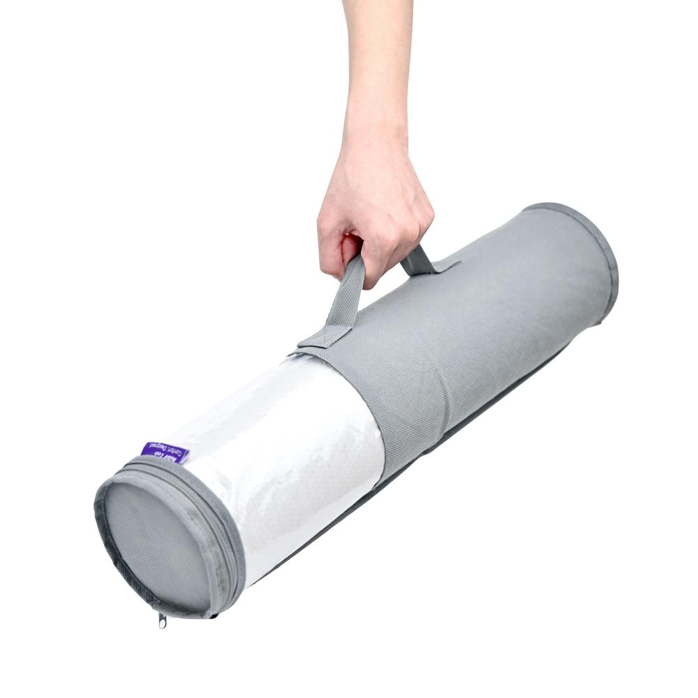 Memory Foam Round Cylinder Bolster for Cervical Support Neck Relief Neck Roll Pillow with Storage Bag- Cushion Lab