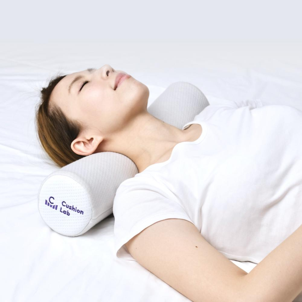 Memory Foam Round Cylinder Bolster for Cervical Support Neck Relief Neck Roll Pillow - Cushion Lab