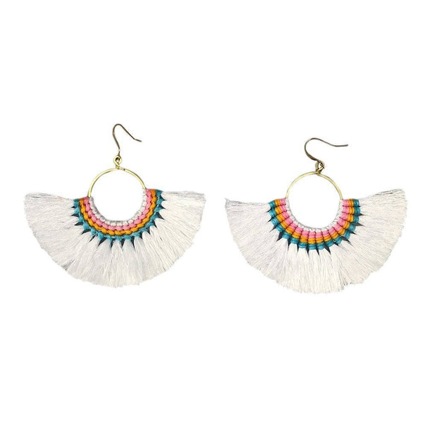 Tassel Fan Earrings Women - Jewelry - Earrings SLATE + SALT White