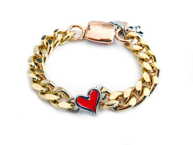 Gold Chain Bracelet With Red Heart Shaped Charm Women - Jewelry - Bracelets Maiden-Art Default Title