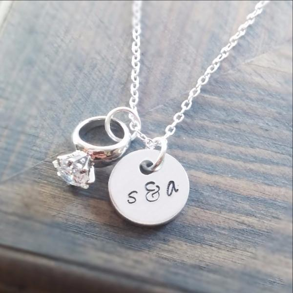 Couples Initials and Engagement Ring Necklace Women - Jewelry - Necklaces Gracefully Made Jewelry