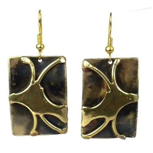 Handcrafted Burst of Energy Earrings - Brass Images (E) Brass Images Brass Images (E)