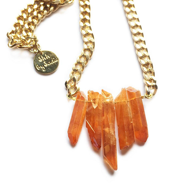 Rocked Up Mini Crystal Quartz Necklace (Amber) Women - Jewelry - Necklaces Shh by Sadie