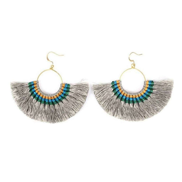 Tassel Fan Earrings Women - Jewelry - Earrings SLATE + SALT Gray