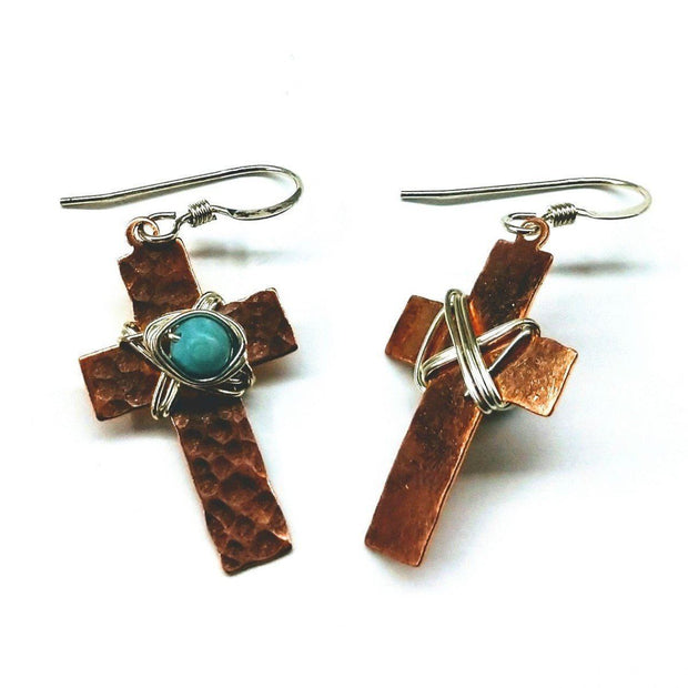 Hammered Copper Cross Earrings With Turquoise Beads Women - Jewelry - Earrings Lexi Butler Designs