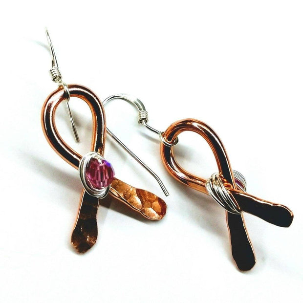 Breast Cancer Awareness Crystal Copper Ribbon Earrings Women - Jewelry - Earrings Lexi Butler Designs