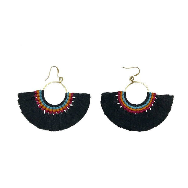 Tassel Fan Earrings Women - Jewelry - Earrings SLATE + SALT Black
