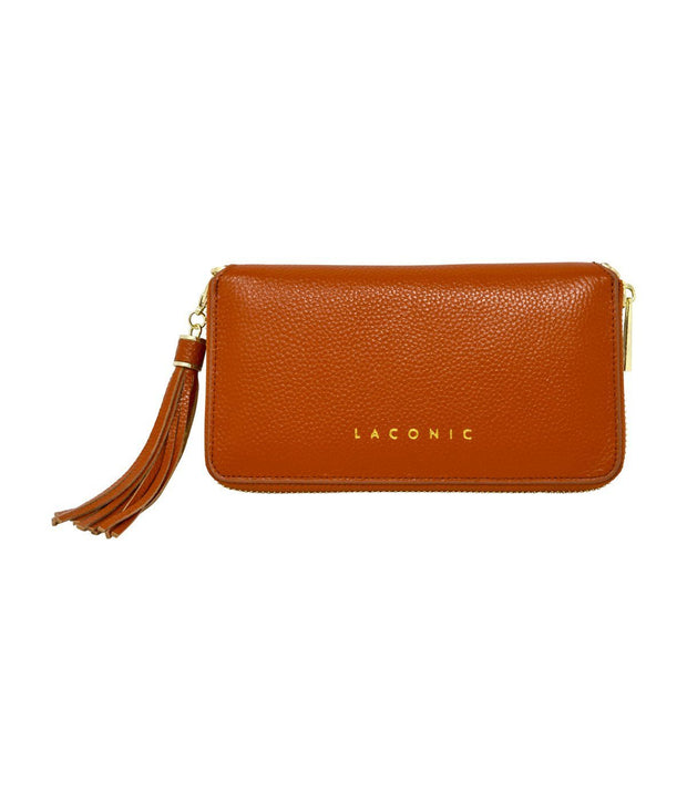 Trouvaille Pebbled Leather Smartphone Wristlet & Crossbody Wallet - Tan Women - Bags - Clutches & Evening Laconic Style