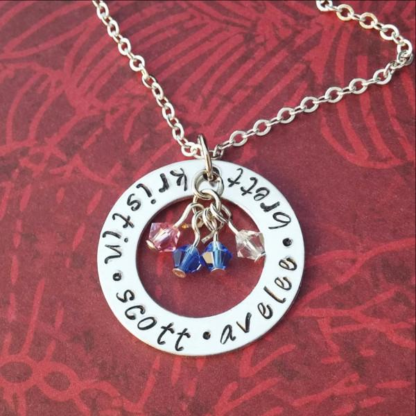 Personalized Necklace With Kids Names and Birthstones Women - Jewelry - Necklaces Gracefully Made Jewelry