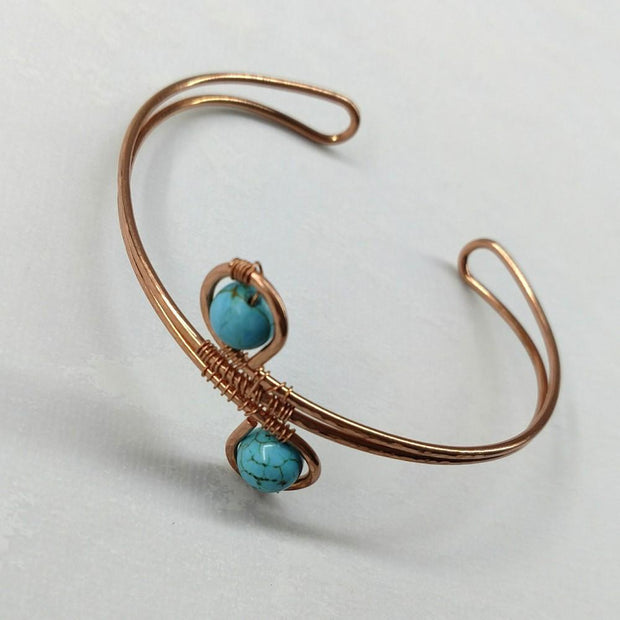 Wire Wrapped Adjustable Turquoise Beads Copper Wire Bracelet Men - Jewelry - Cuffs Lexi Butler Designs