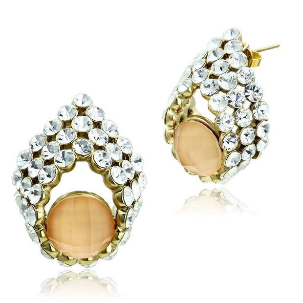 GL355 IP Gold(Ion Plating) Brass Earrings with Synthetic in Orange Women - Jewelry - Earrings Alamode Fashion Jewelry Outlet