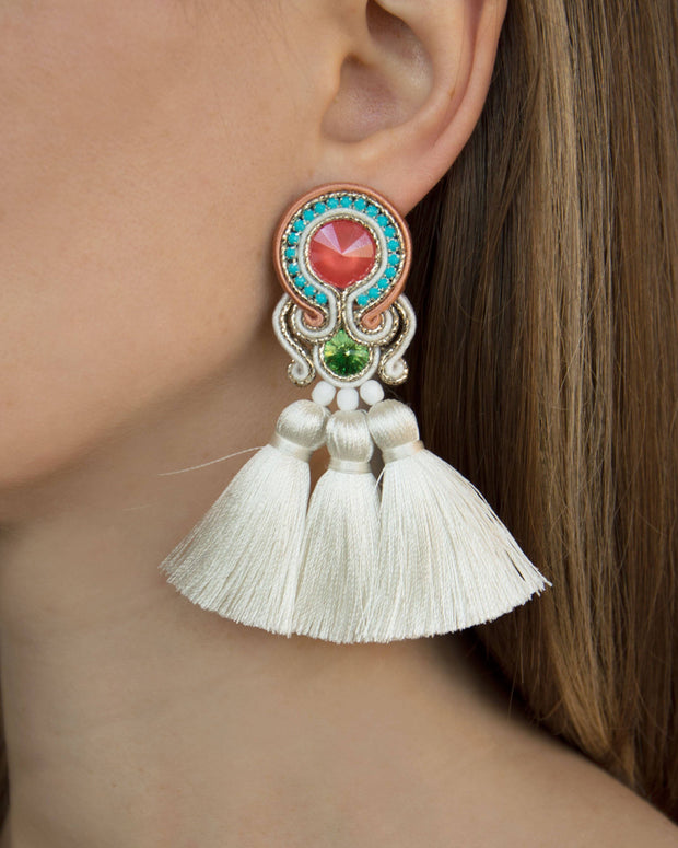 Earrings With Tassels in Multicolor Women - Jewelry - Earrings Olga Sergeychuk Jewelry