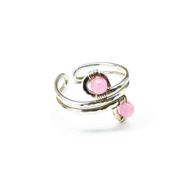 Wire Wrapped Sterling Silver Pink Jade Adjustable Finger Toe Ring Women - Jewelry - Rings Lexi Butler Designs