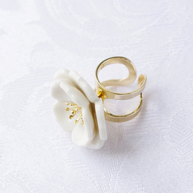 Porcelain Plum Blossom Statement Ring Women - Jewelry - Rings POPORCELAIN