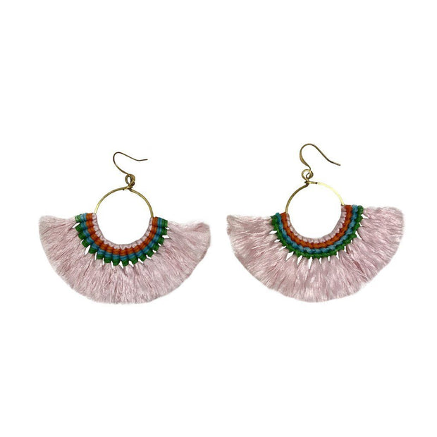 Tassel Fan Earrings Women - Jewelry - Earrings SLATE + SALT Pink