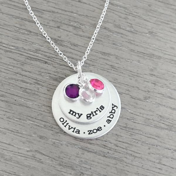 My Girls Necklace With Birthstones Women - Jewelry - Necklaces Gracefully Made Jewelry