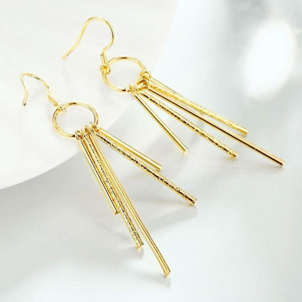 Golden NYC Wind Chimes Drop Earrings Riakoob