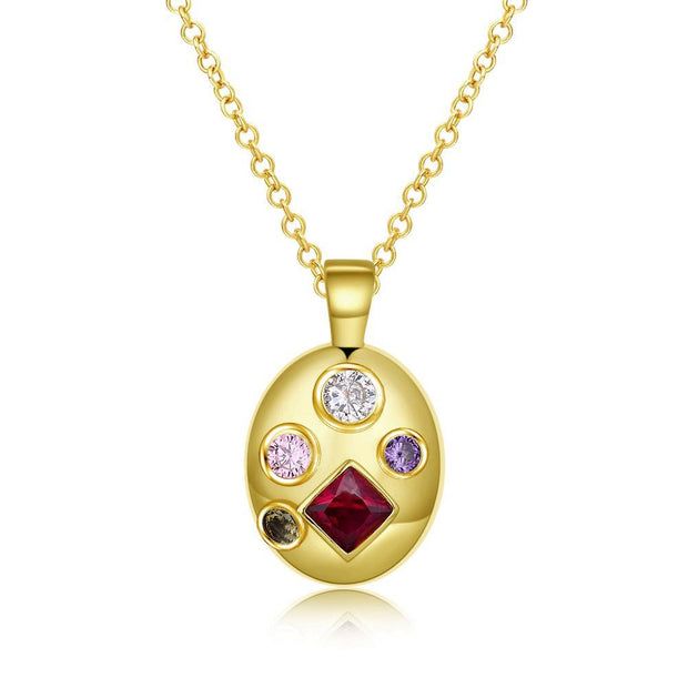 Four Stone Swarovski Pendant Necklace Riakoob