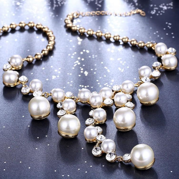 Dangling Pearl Chandelier Pav'e Statement Necklace Riakoob