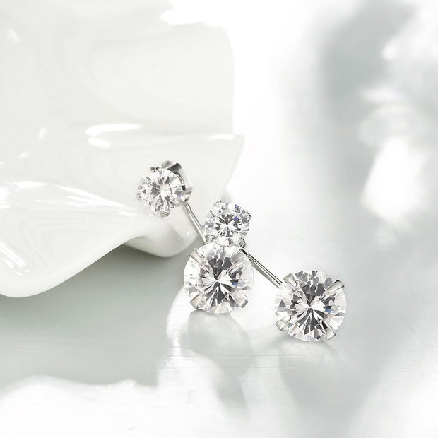 Swarovski Elements Drop Earrings in 18K White Gold Riakoob