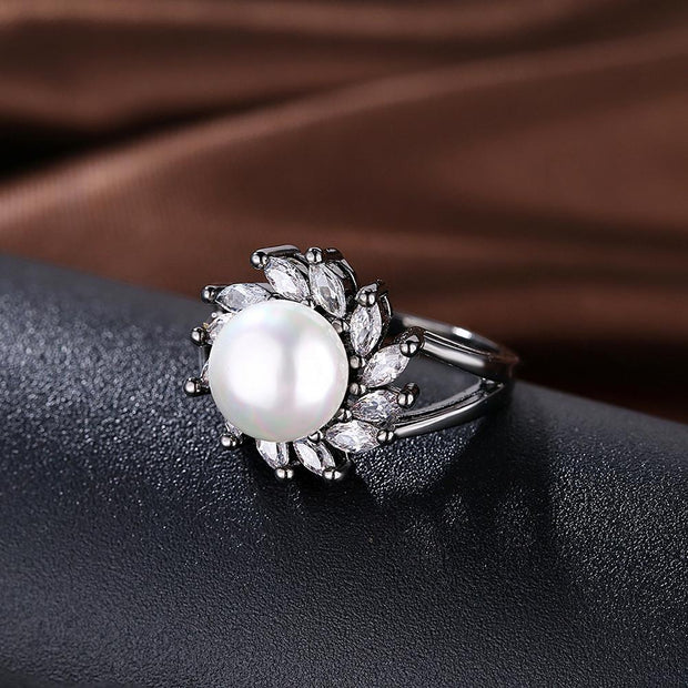 Freshwater Pearl Blossom Cocktail Ring Riakoob