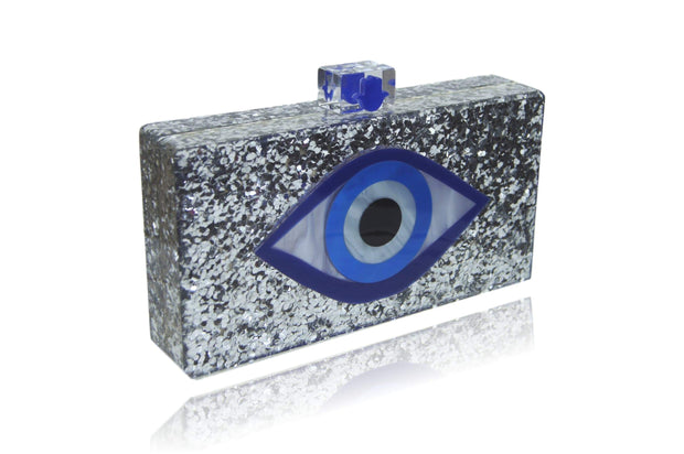 Silver Glitter Evil Eye Clutch Women - Bags - Clutches & Evening Milanblocks