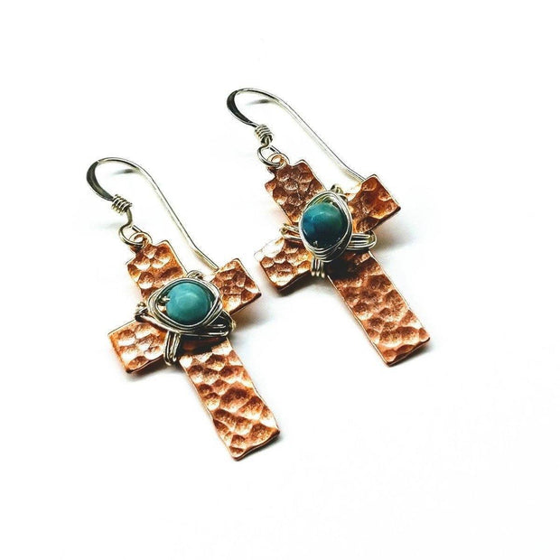 Hammered Copper Cross Earrings With Turquoise Beads Women - Jewelry - Earrings Lexi Butler Designs Default Title
