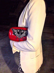 Snakeskin Candy Clutch (Red/Black) Women - Bags - Clutches & Evening AR Anna Rubio