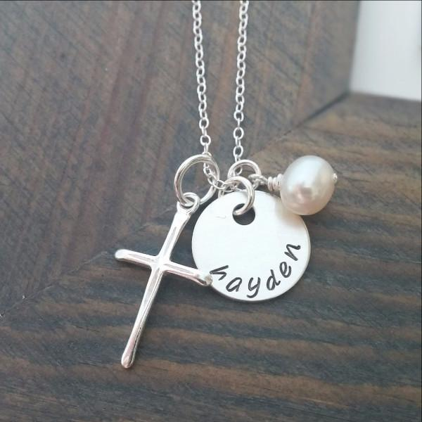 Personalized Sterling Silver Cross Necklace Women - Jewelry - Necklaces Gracefully Made Jewelry