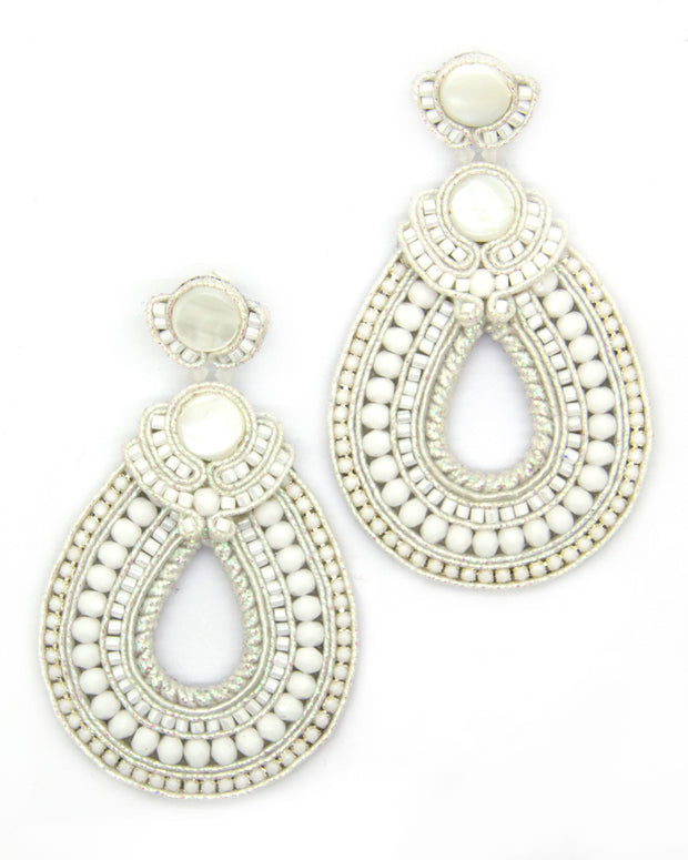 Hoop Teardrop Beaded Earrings in White Color Women - Jewelry - Earrings Olga Sergeychuk Jewelry