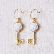 Porcelain Camellia Golden Key Earrings Women - Jewelry - Earrings POPORCELAIN