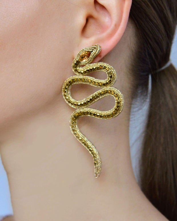 Mismatch earrings Serpent with crystals in Gold Earrings Indigo Hera