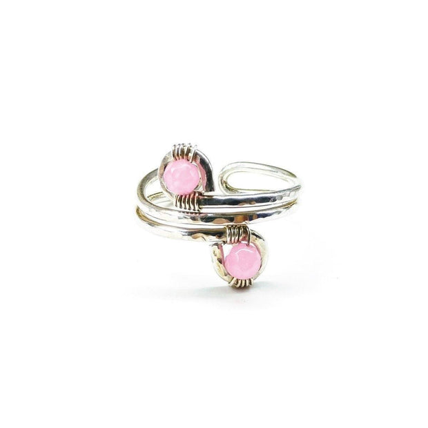 Wire Wrapped Sterling Silver Pink Jade Adjustable Finger Toe Ring Women - Jewelry - Rings Lexi Butler Designs 6-7