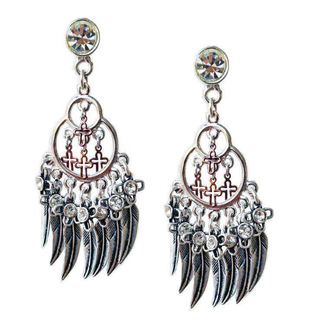 Chandelier Earrings With Feathers, Crosses, Swarovski Crystals and Charms. Boho Chic Earrings, Boho Chic Jewelry. Women - Jewelry - Earrings Maiden-Art