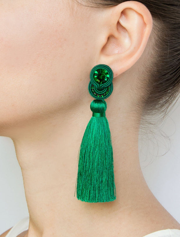 Tassel Earrings in Dark Red Color Women - Jewelry - Earrings Olga Sergeychuk Jewelry