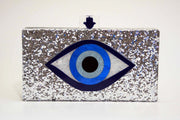 Silver Glitter Evil Eye Clutch Women - Bags - Clutches & Evening Milanblocks Default Title