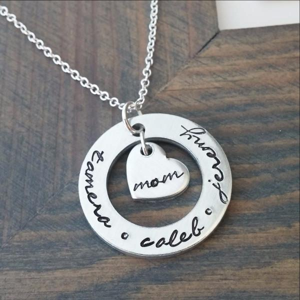 Personalized Necklace for Mom Cutout Disc With Heart Charm Women - Jewelry - Necklaces Gracefully Made Jewelry