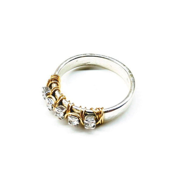Gold Filled Wire Wrap Silver Hammered Crystal Ring Women - Jewelry - Rings Lexi Butler Designs