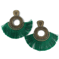 Green and Gold Baylor Bears Statement Earrings