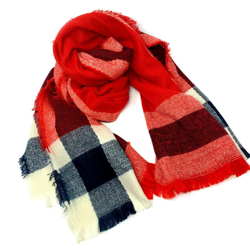 Cozy Blue and Red Plaid Scarf - StyleAlum