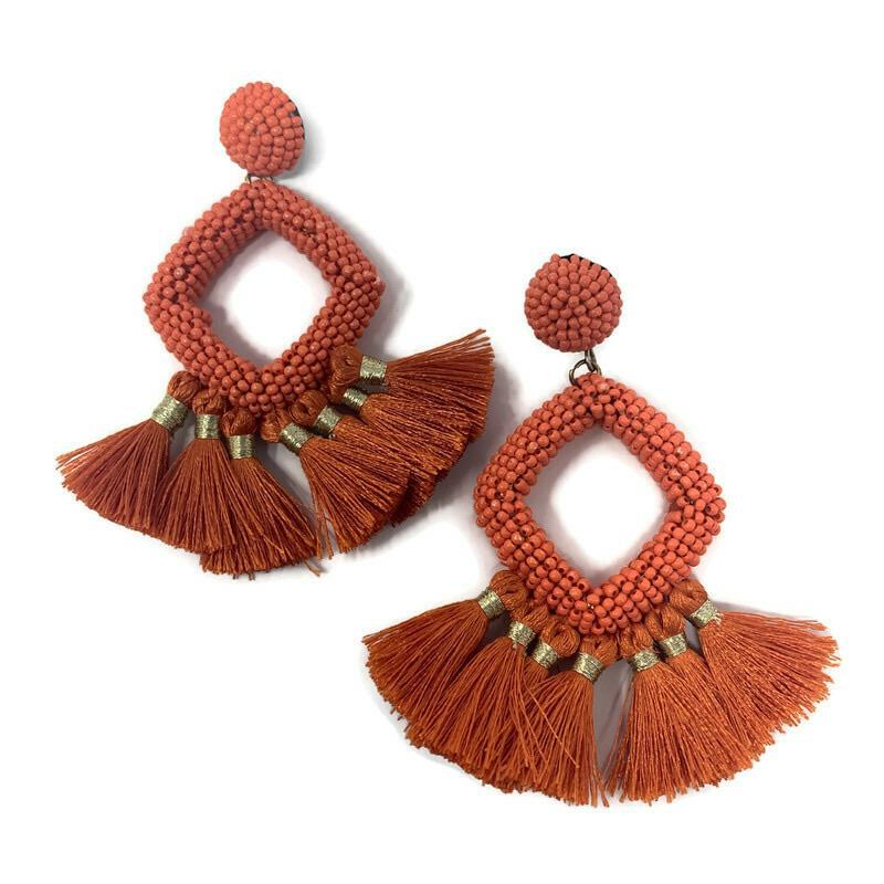 Diamond Hoop and Fringe Earrings - StyleAlum