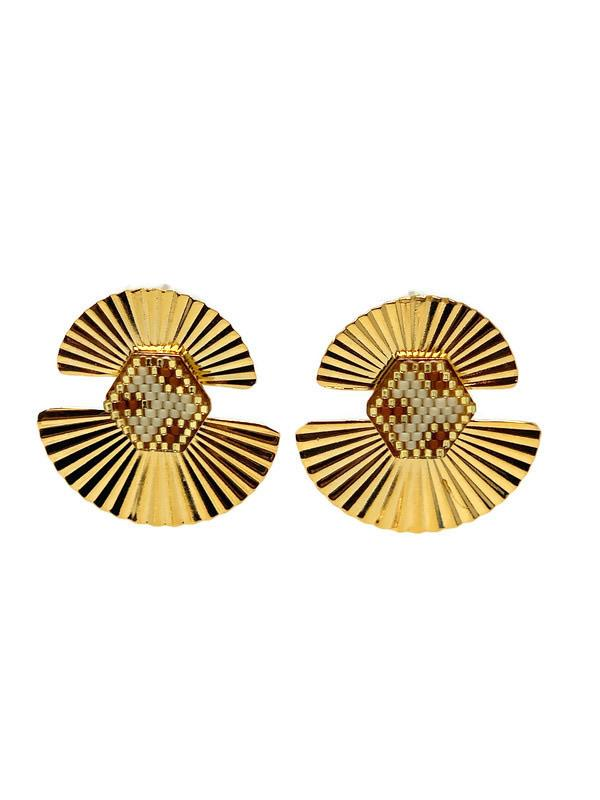 Double Fan Gold Earrings - StyleAlum