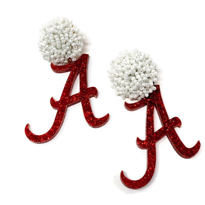 Glittery Alabama Logo Earrings - StyleAlum