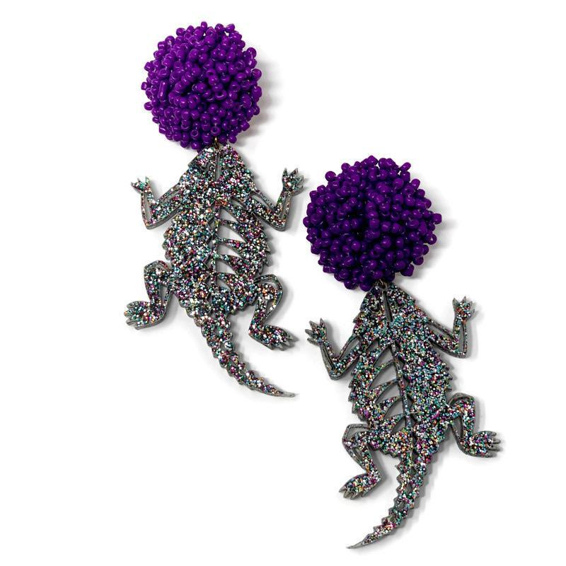 Glittery TCU Horned Frogs Earrings - StyleAlum